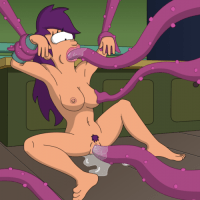 Nude Leela gets fucked by multiple purple tentacles of some perverted alien... on her own kitchen floor!