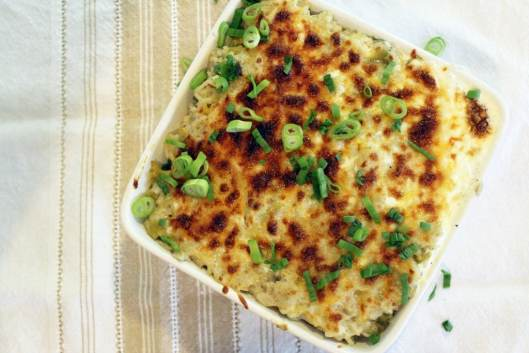 Broiled casserold topped with scallion