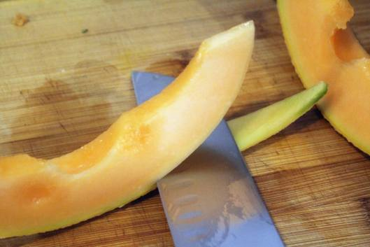 Remove skin from cantaloupe