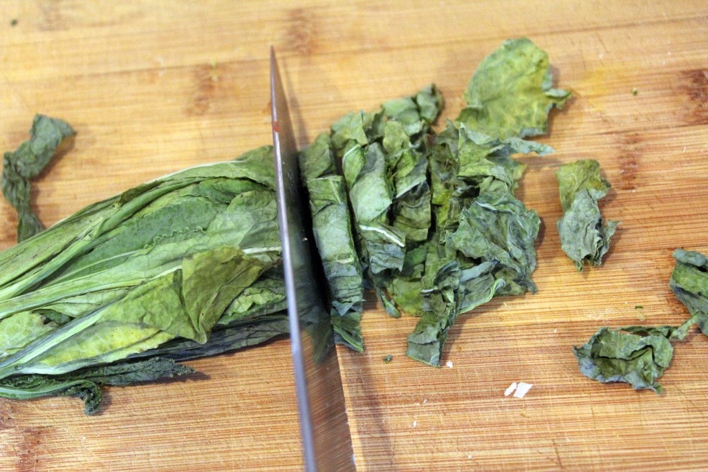 Thinly slice kale