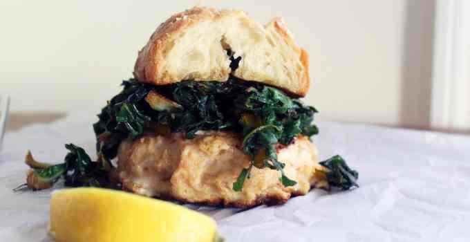 Shrimp Burgers + Garlic Greens