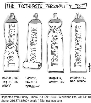 Funny toothpaste depression test  cartoon, September 26, 2007