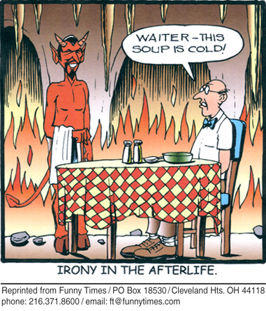Funny food waiter devil  cartoon, February 24, 2010