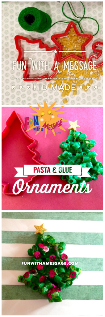 kid made ornaments pasta