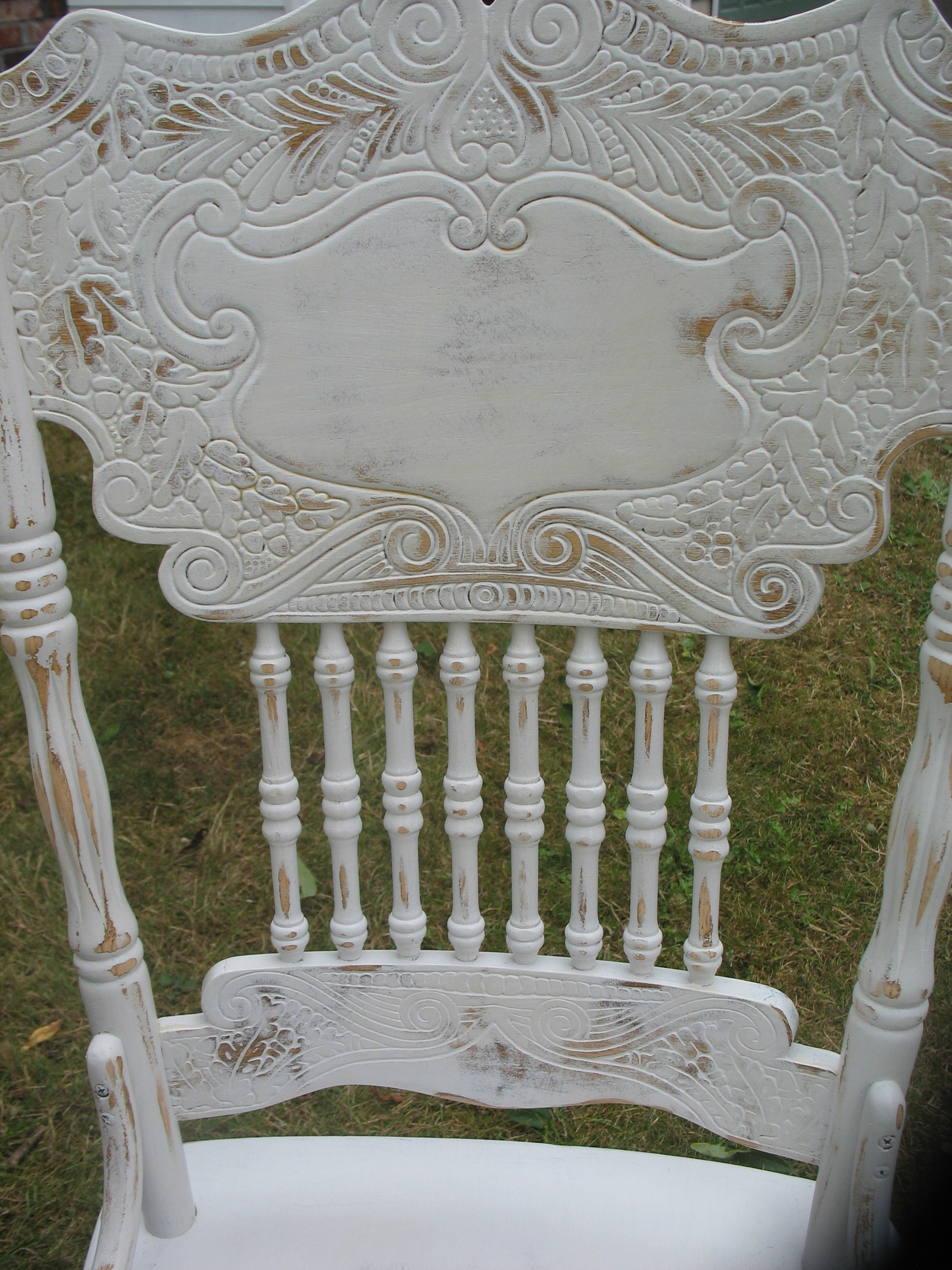 shabby chic dining table white distressed kitchen table Distressed Dining Table with leaf 4 ornate chairs