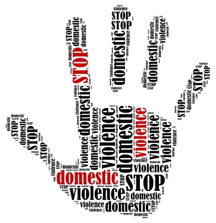 30354418 - stop domestic violence word cloud illustration in shape of hand print showing protest