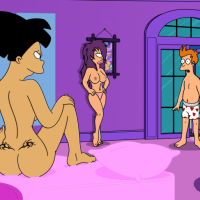 Fry is having sex with both Leela and Amy... while the professor watches!