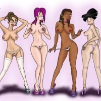 This stellar lineup of Futurama honies indeed highlights the girls' qualities adorably. From Amy's adorable white culo to Leela's taut vag.