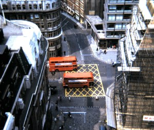 Old image of a 'Box Junction' with painting in the UK.