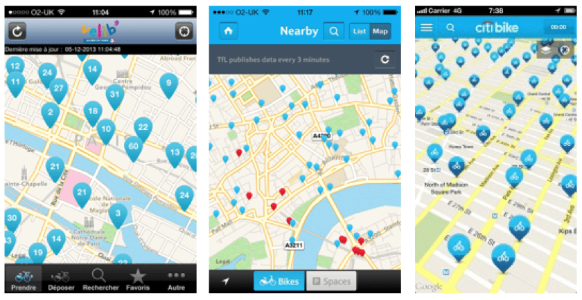 The three smartphone apps for the bicycles sharing schemes in Paris (left), London (centre), and New York City (right)