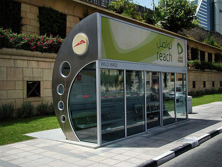 Air conditioned bus stop in Dubai. ©Elvis Payne