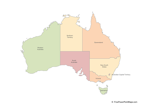 PowerPoint     Map of Australia with States   Multicolor   Free Vector Maps Free Vector Map of Australia with States   Multicolor