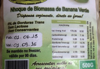 Nhoque de Biomassa de Banana Verde Fruto das Mãos