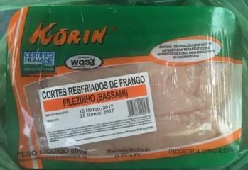 Cortes Resfriados de Frango Filezinho Sassami Korin