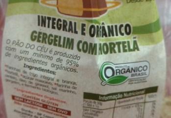 Pao Integral e Organico Gergelim com Hortela Pao do Ceu