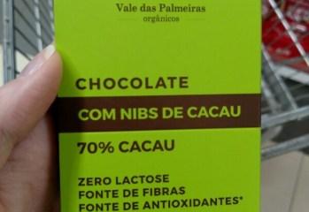 Chocolate com Nibs de Cacau Orgânico 70% Cacau Vale das Palmeiras