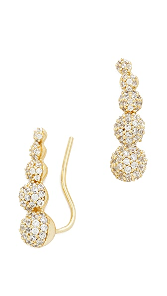 Fallon Jewelry Shalom Pave Climber Earrings - Gold/Clear