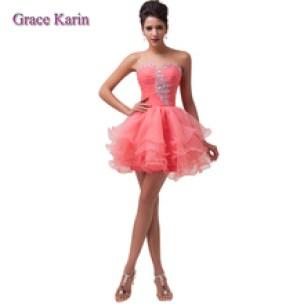 Vestido de formatura Aliexpress  rosa curto delicadinho