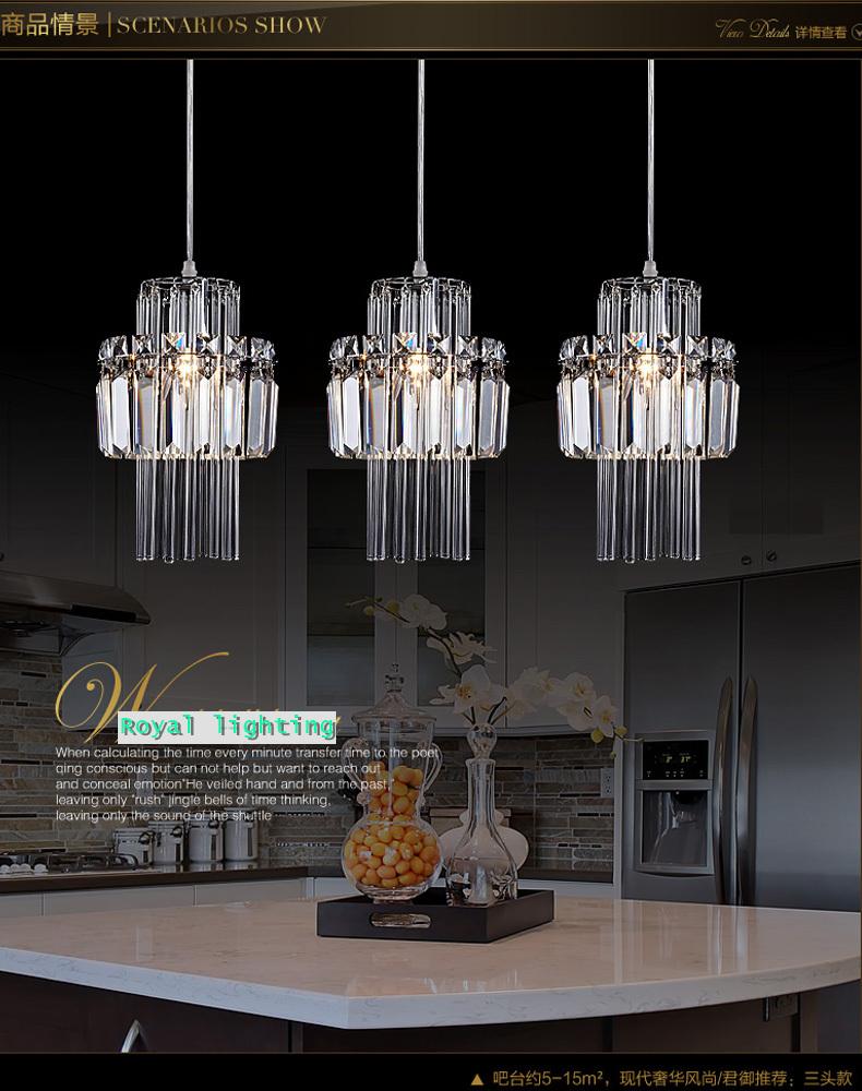 Dining room pendant crystal lamp 3 lights hanging lighting Restaurant crystal pendant lamp Kitchen bar bedroom
