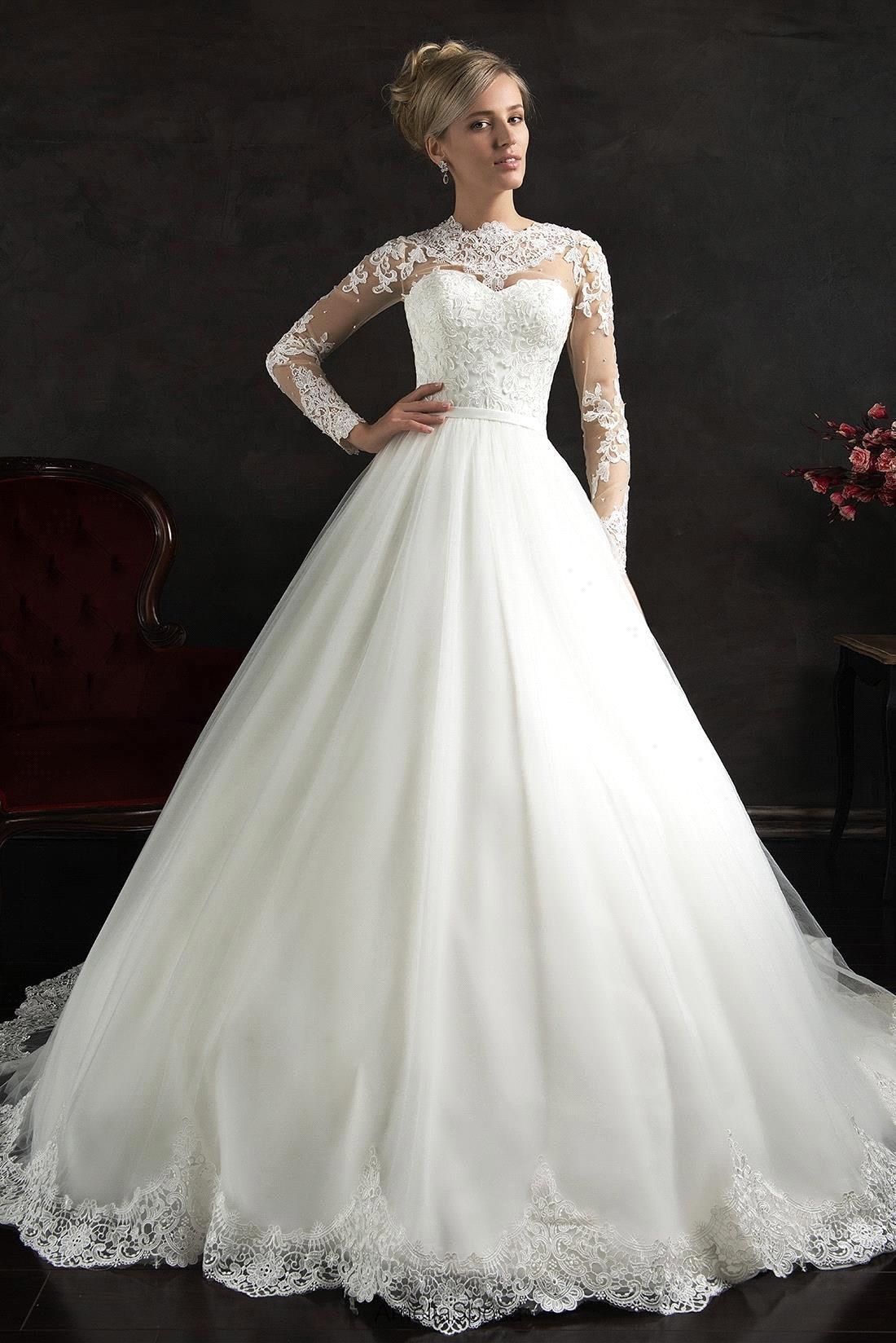 Cheap Princess Wedding Dresses princess wedding dress Deep V Neck Long Sleeves Lace Tulle A Line Wedding Dress