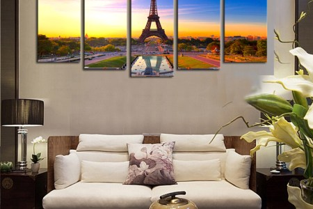 2016 sale real paintings fallout unframed 5 panels eiffel tower modern home wall decor painting canvas