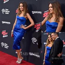 Vestido de Hollywood Aliexpress bandagem de cetim azul