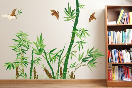 hot sale home decor poster emerald green bamboo wall sticker removable tv backdrop pvc waterproof material