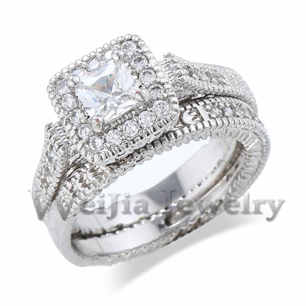 diamond engagement ring 1 ct tw princess cut 14k white gold 1 wedding rings real diamonds Hover to zoom