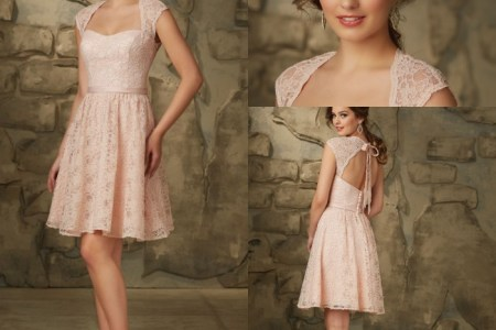 new arrival country style bridesmaid dresses open back short lace bridesmaid dress a line pink