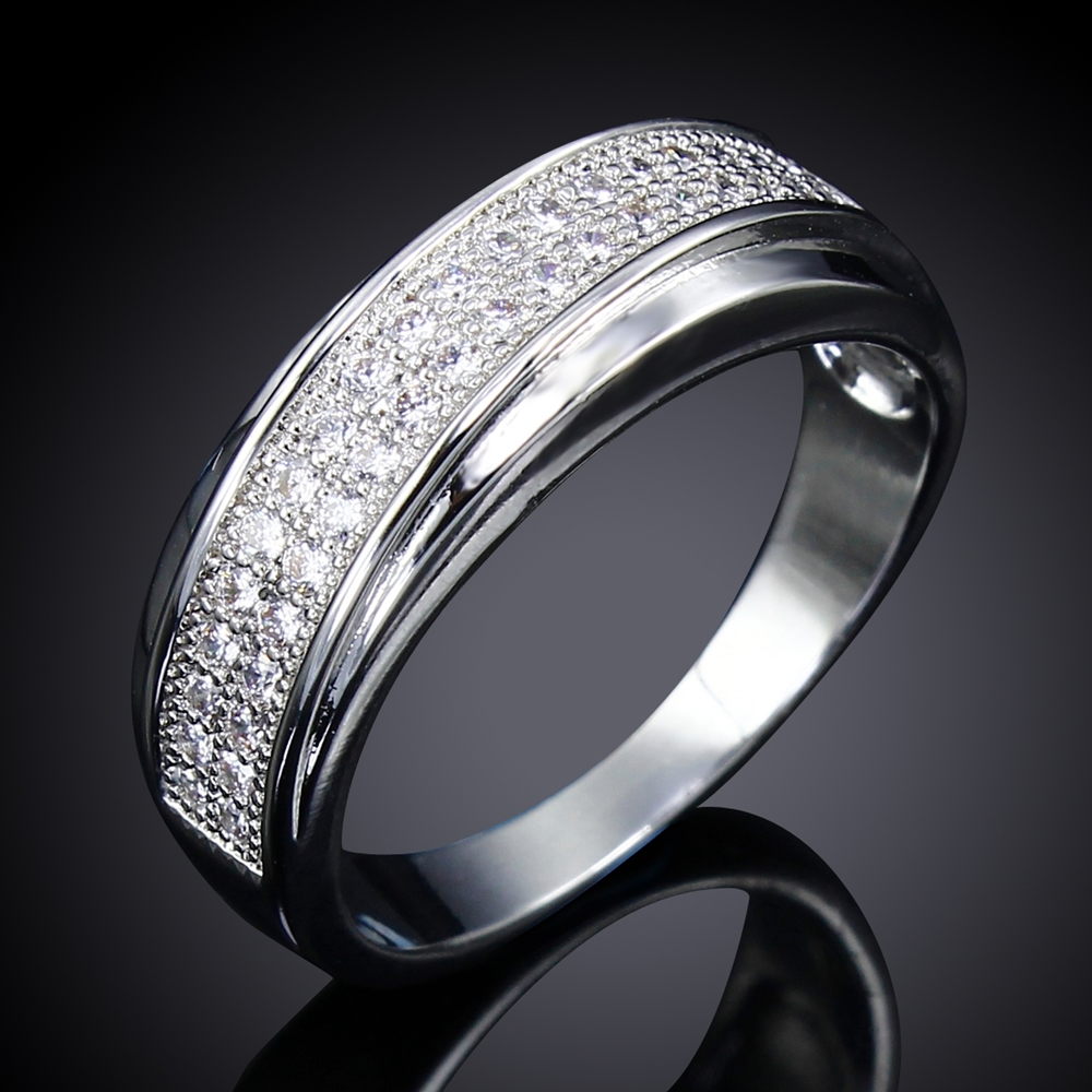 india jewelry pretty wedding bands promotion pretty wedding rings DC Hot Sellling Wedding Band Ring for Women Stackable Rings Rhodium or Gold color Synthetic CZ Femmes anneaux Size 6 to 10