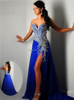 Vestido de formatura Aliexpress azul royal longo