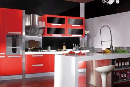 red and black kitchen design