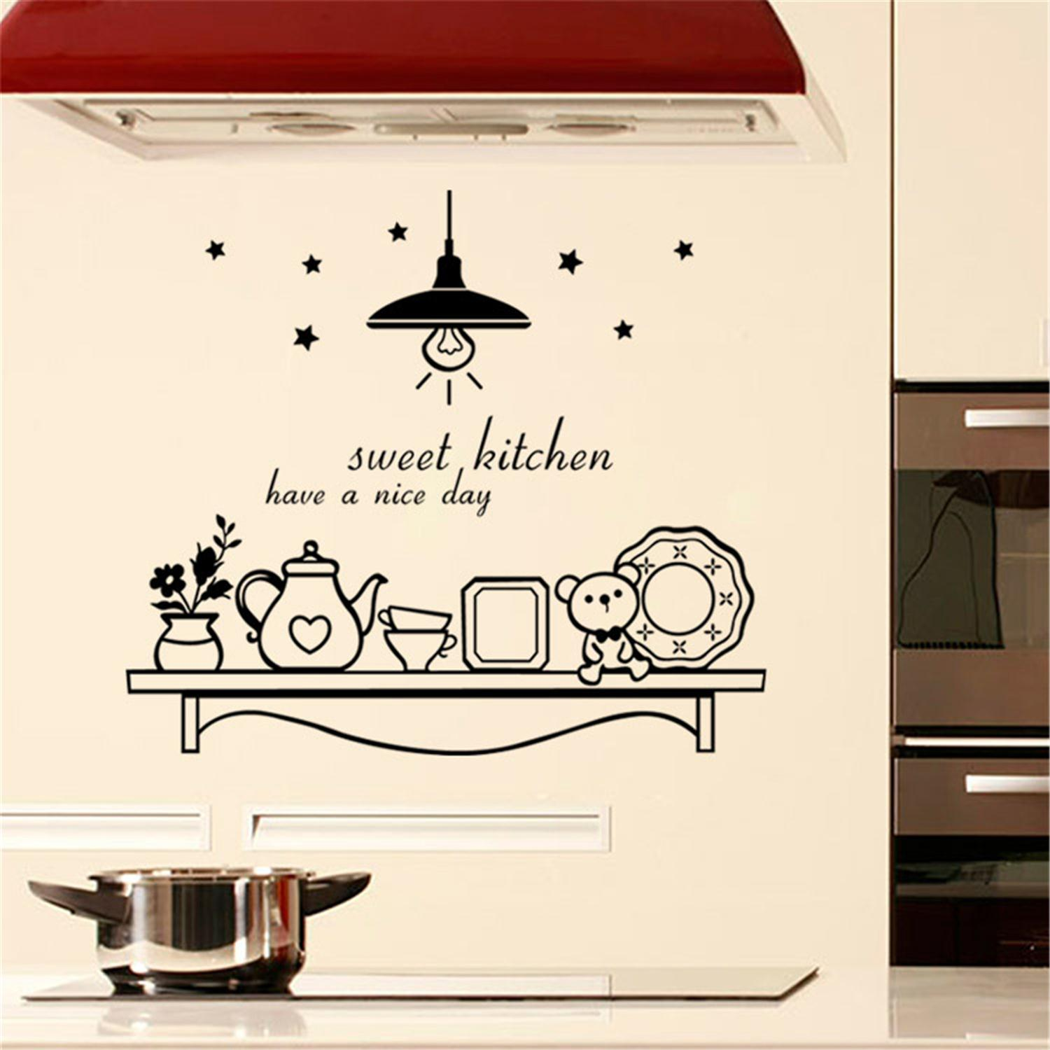Creative Design font b Kitchen b font Wallpaper Stickers Cute font b Star b font Flower