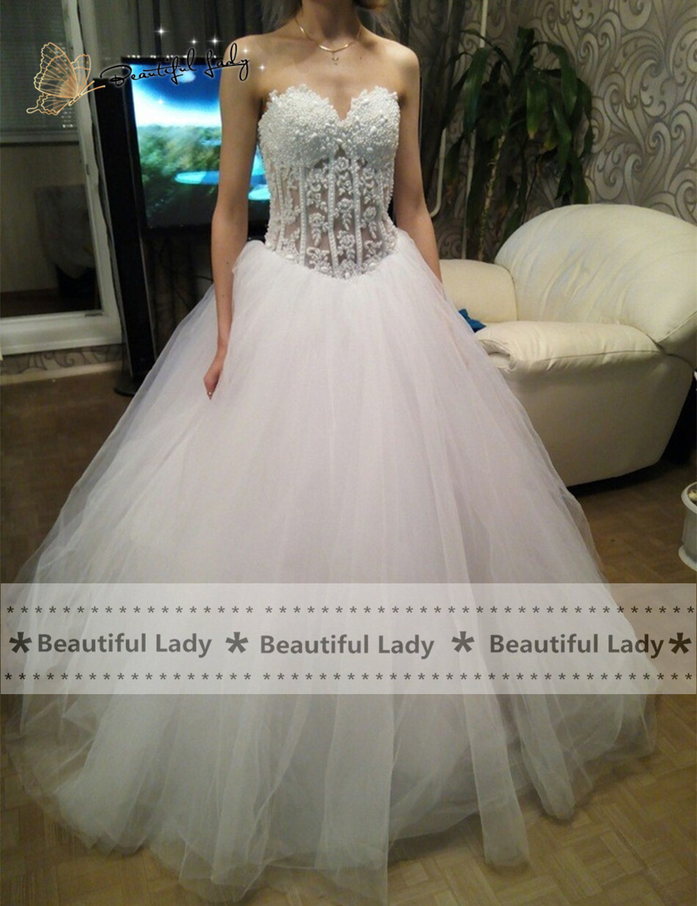 apparel ivory gold wedding dress promotion gold dress for wedding Graceful Ivory Long Wedding Dress Exquisite Beaded Tull Sweetheart See Through Wasit A Line Bridal Wedding Dresses