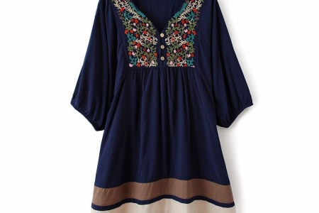 hot sale women embroidered ethnicstyle sching loose cotton long peasant hippie gypsy mexican dress blouse free
