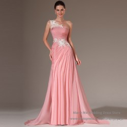 Radiant Vestidos De Noche 2015 Pink Ruched One Shoulder Lace Evening Prom Dresses Length Gown Chiffon Formal Dresses Near Me Lees Summit Mo Formal Dresses Near Me