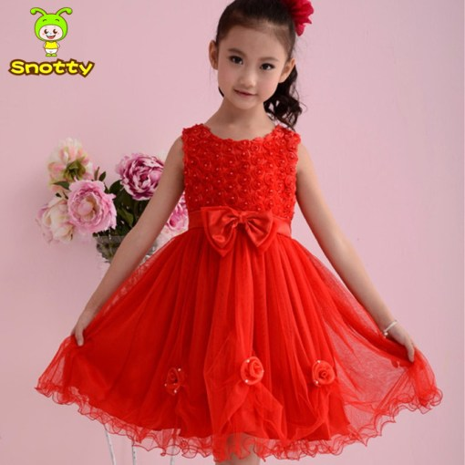 red wedding dress for girls age 10 with bow knot
