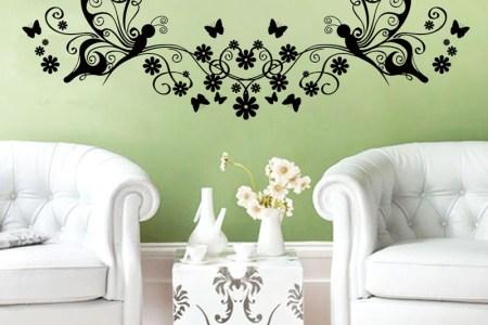 hot sale creative vinyl flowers and erflies wall sticker living room home decor diy