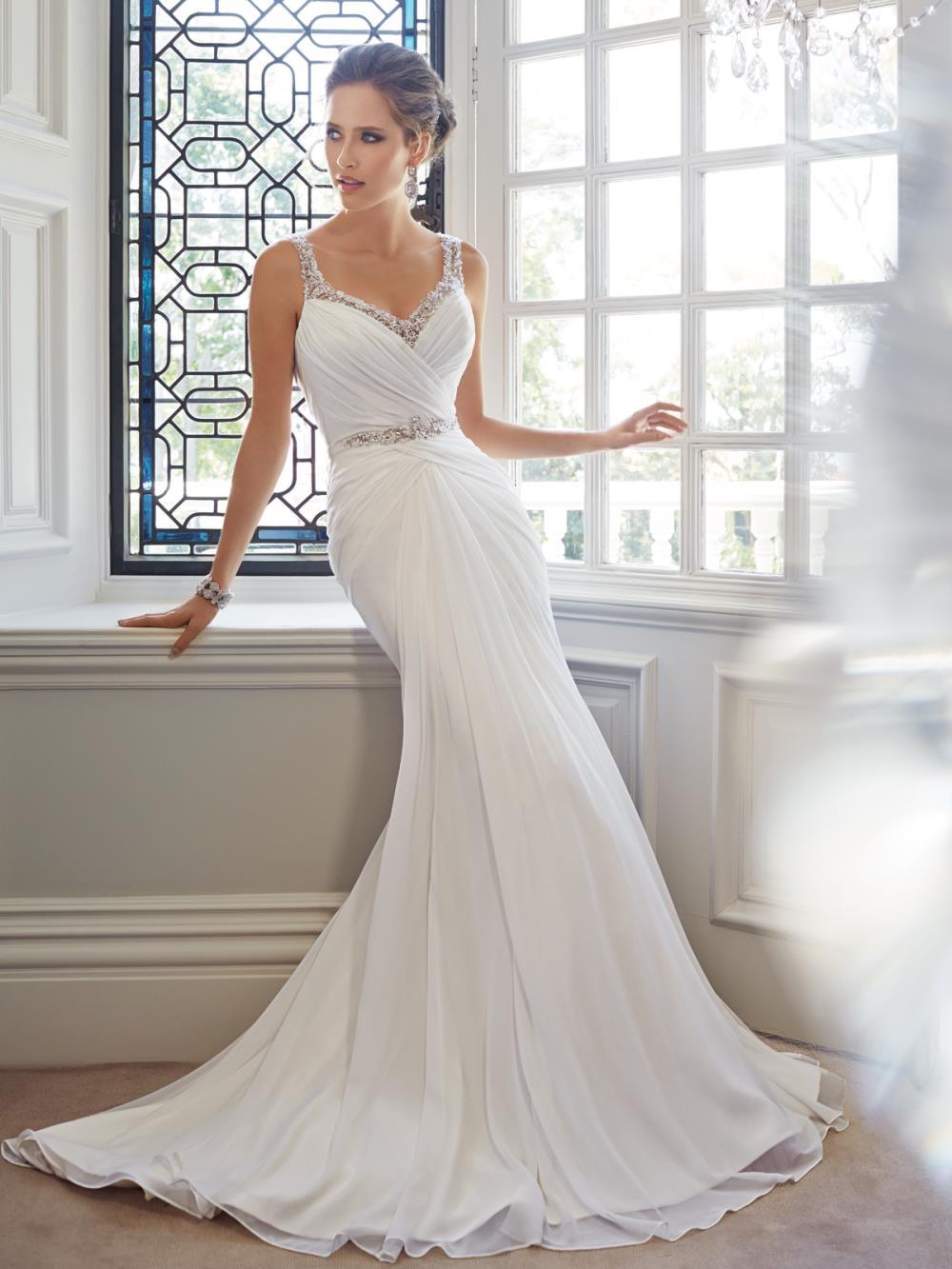 vjen C4 8Danice wedding dresses spaghetti strap wedding dress Stella York A line lace wedding dress Iain choice