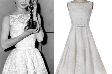 vintage dress audrey hepburn style white a line bow belt lace dress custom made women clothing