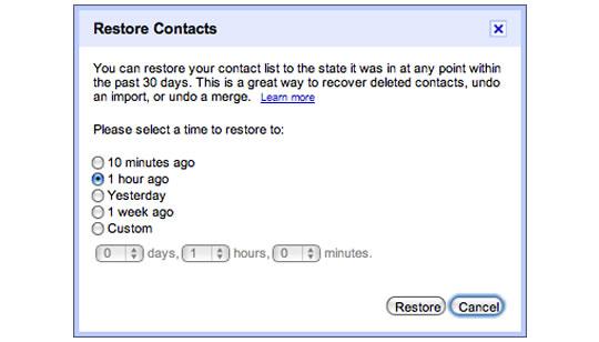 Gmail restaurar contactos