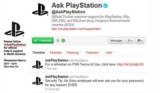 PlayStation - Servicio al Cliente en Twitter