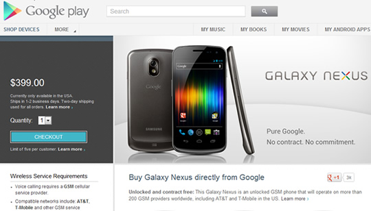Galaxy Nexus Google Play