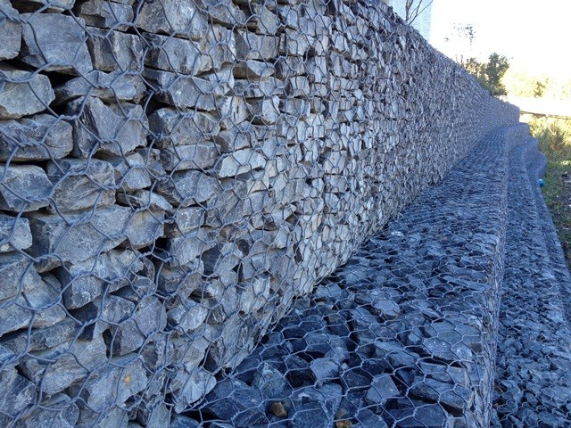 River Wall upclose, courtesy of Wilfred Krohn - Gabion Construction