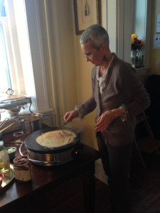 Claudia making crepes