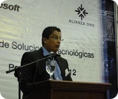 Jorge Cabeza  durante su discurso en NGO Day