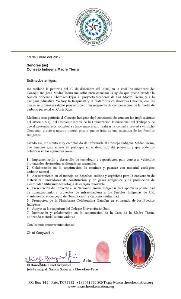 C-001-2017 respuesta Nación Soberana Cherokee-Tejas-001