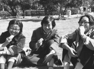Sha Sha, center, at English Department picnic, 1981; by Gail Pellett