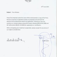 Opposition Letter Demanding Electoral and Constitutional Reform in Gambia