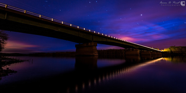 Bridge over Penobscot River at night in Lincoln, Maine.<br />This is a crop from a 14mm wide-angle photo.